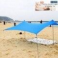 Семья пляжный зонтик легкий тент от солнца с опорами в виде мешков с песком 4 Бесплатный колышки UPF50 + УФ большой переносной навес