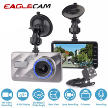 цена на Car DVR Camera Blue Mirror Dash Cam Dual Lens Full HD 1080P 4 IPS Front+Rear Night Vision Video Recorder Parking Monitor