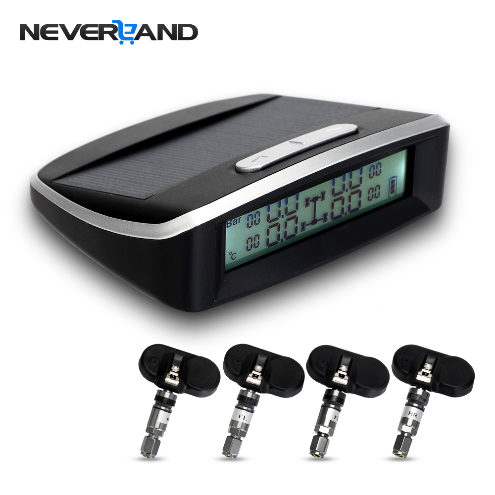 NEVERLAND TPMS Car Tire Pressure Monitoring System Solar Energy LCD Display 4 Internal Sensor Auto Alarm System Car electronics solar car tpms tire pressure monitoring system 4 external sensor auto alarm system wireless car pressure monitor lcd display