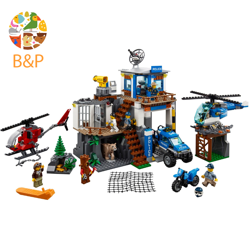 Legoing 60174 742pcs CITY Series The Mountain Police Headquater Model Building Blocks Brick Toys For Children Gift 02097 Lepin lepin 02006 815pcs city series police sea prison island model building blocks bricks toys for children gift 60130