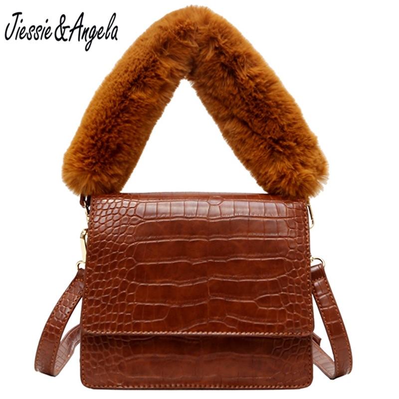 Jiessie & Angela Famous Brand New Women Bag Female Shoulder Bag Faux Fur Handle Ladies Hand Bags Vintage Handbags and Purse