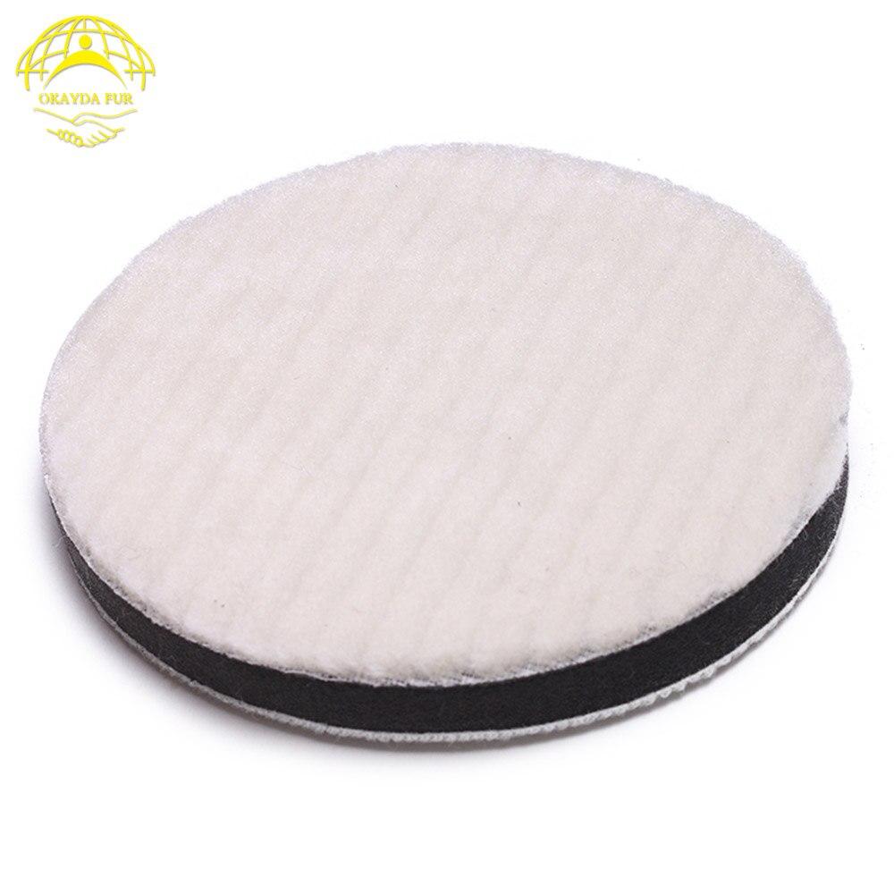 OKAYDA Polishing pad Car buffing pad polisher Buffer Real sheep wool sponge for car paint grinding Waxing Adhesive 55mm/125mm