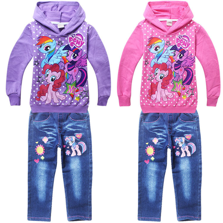 2015 little pony spring autumn baby girls clothing set sport kids pink 2 piece suit 4~8 age long sleeved Hoodies+jeans pants