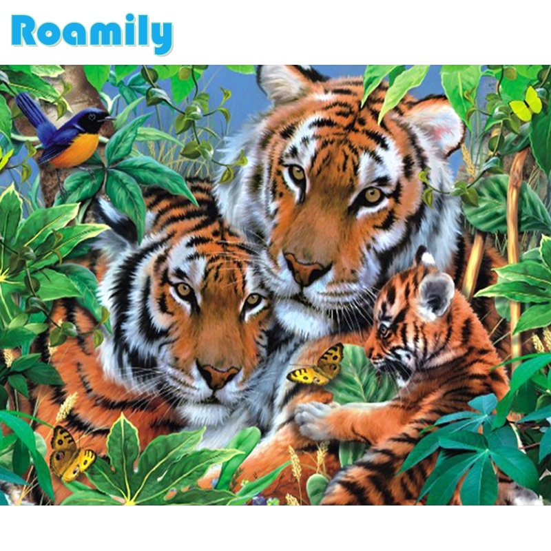 A gyémántfestés teljes tér, a tigris család az erdőben, kép a - Művészet, kézművesség és varrás