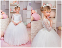 Off the shoulder ivory lace flower girl dresses ball gown puffy tulle little princess dresses for wedding and party with sleeves