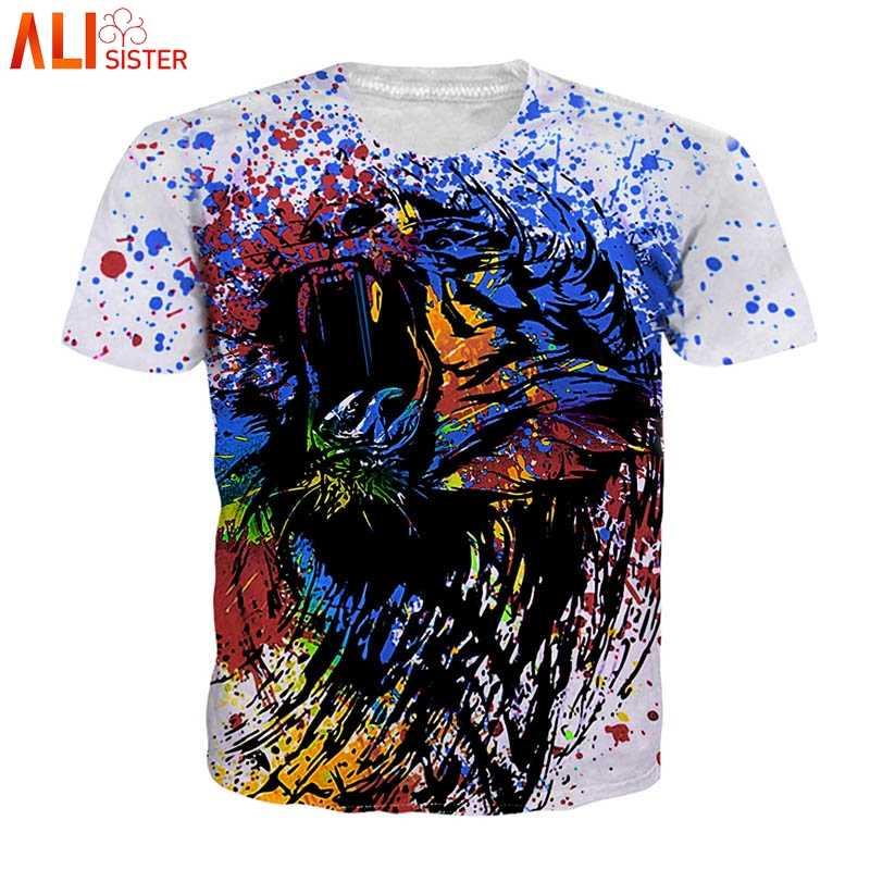 Alisister/футболка с рисунком льва, 3d Животное орел, волк, сова, тигр, летний топ с принтом, большие размеры, мужская и женская футболка, Homme Camiseta