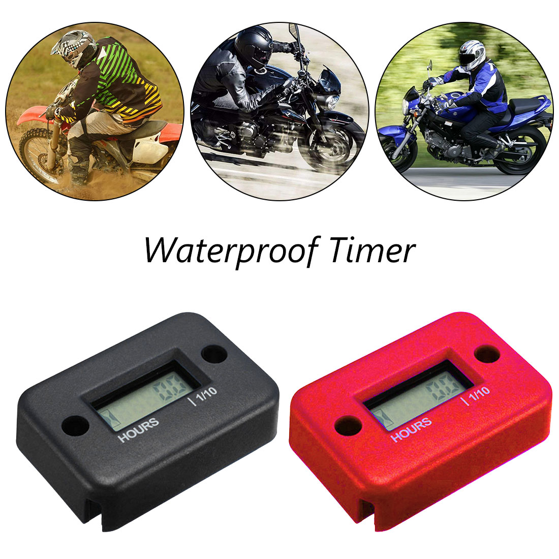Waterproof LCD Display Digital Hour Meter Inductive Hour Meter Tachometer for Bike Motorcycle Snowmobile Marine Engine 0-9999.9H image