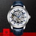 Reloj de cuero de moda de marca de diseño PAGANI 2019 reloj de oro automático mecánico esqueleto relojes a prueba de agua reloj Masculino caja
