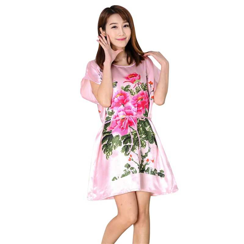 d71832125b Fashion Casual Chinese Women Lady Peony Robe Kimono Bath Gown Nightgown  Sleepwear