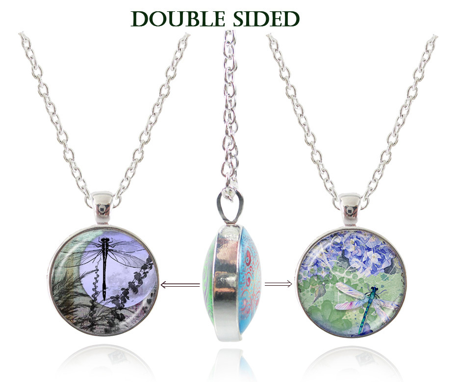 Dragonfly pendant necklace glass cabochon silver chain double sided Statement Necklaces & Pendants fashion insect jewerly gifts