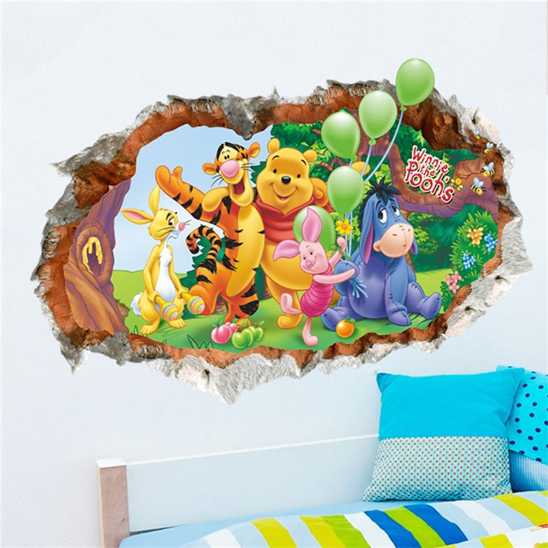 இAnimal cartoon Winnie Pooh wall stickers for kids rooms boy girl ...