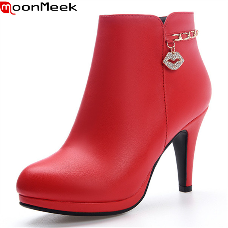 MoonMeek fashion new arrive women boots black red super high ankle boots zipper solid color lady