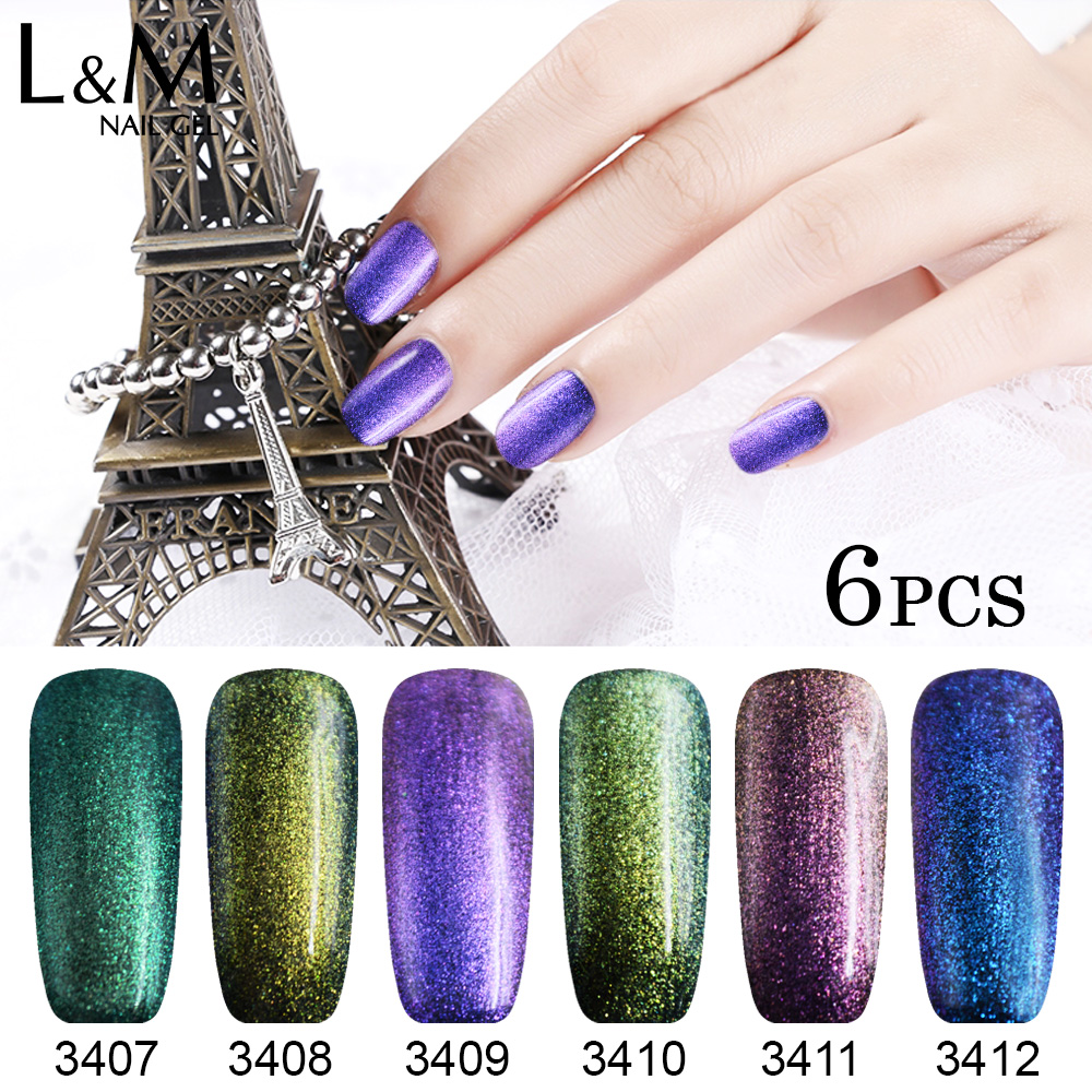 Set 6 pezzi Kit Chameleon Gel Polish Unghie Glitter fai-da-te Top - Manicure