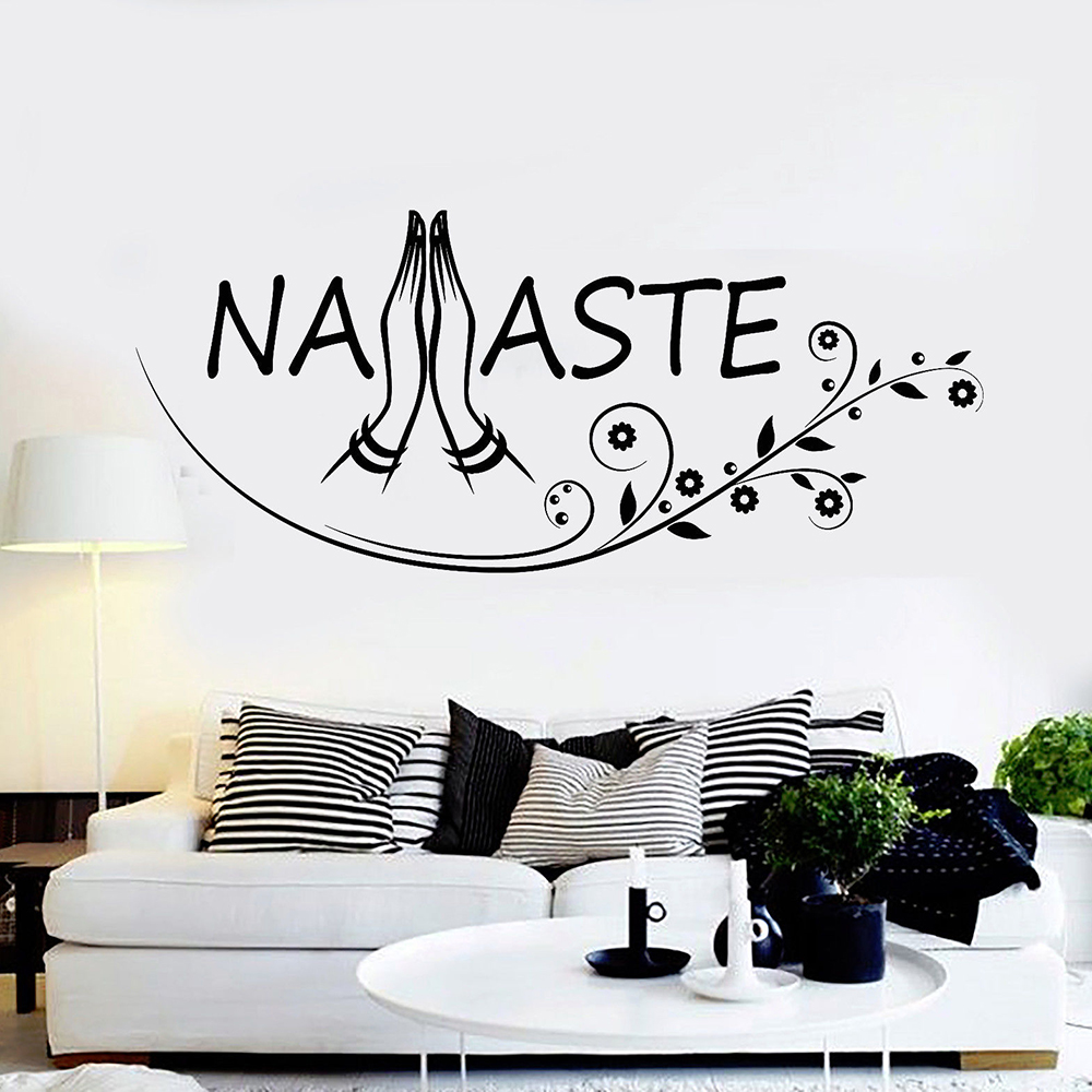 Living Room Yoga Studio Coogee: Namaste Letters Wall Art Decals Yoga Buddhism Hinduism