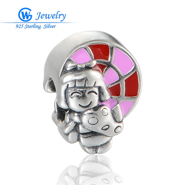 New Online Fashion 925 Sterling Silver Charm Girl Cute Charms Fits For Diy Women Jewelry Chain Bracelet GW Fine Jewelry D131H20