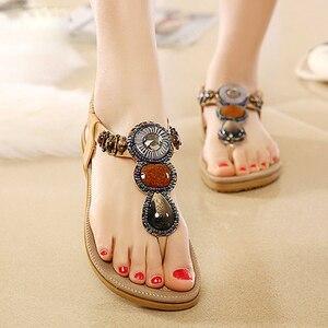 Image 5 - BEYARNE חדש קיץ סנדלים שטוחים גבירותיי קיץ בוהמיה חוף כפכפים נעלי נשים Scarpe דונה Zapatos Mujer Sandalias