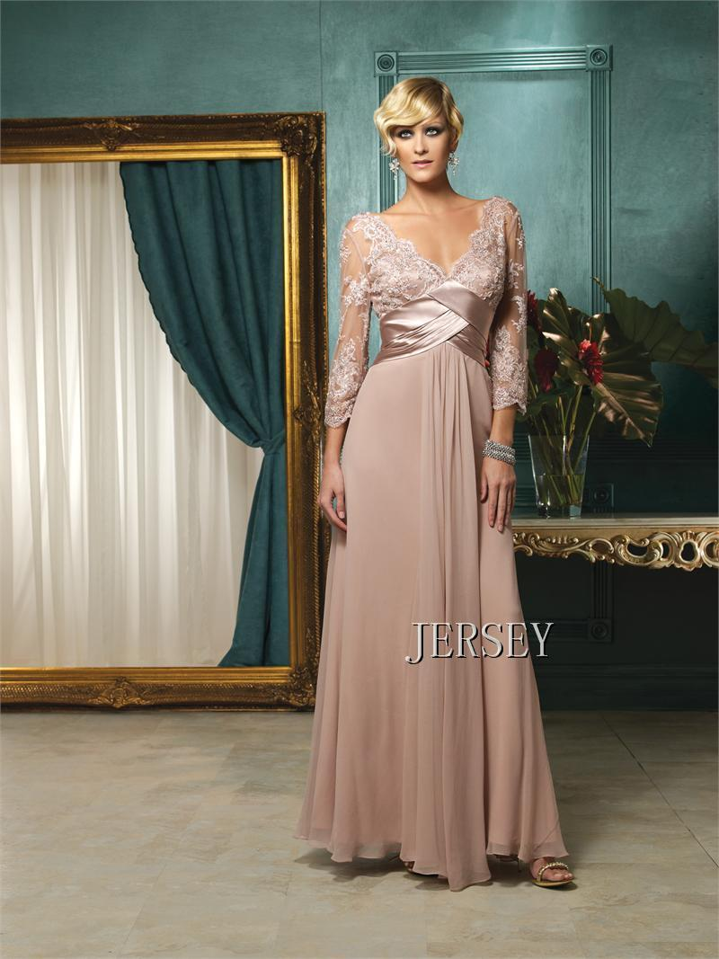 Free Shipping 2015 Vestidos Pink V-neck Lace Long-sleeve Chiffon Bridal New Design Custom Long Gown Mother Of The Bride Dresses