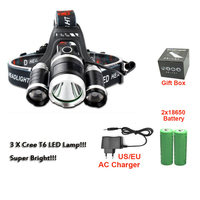 3 X LED Cree T6 Waterproof Headlamp 4 Models 5000 Lumnes Rechargeable Head Headlight For Hunting