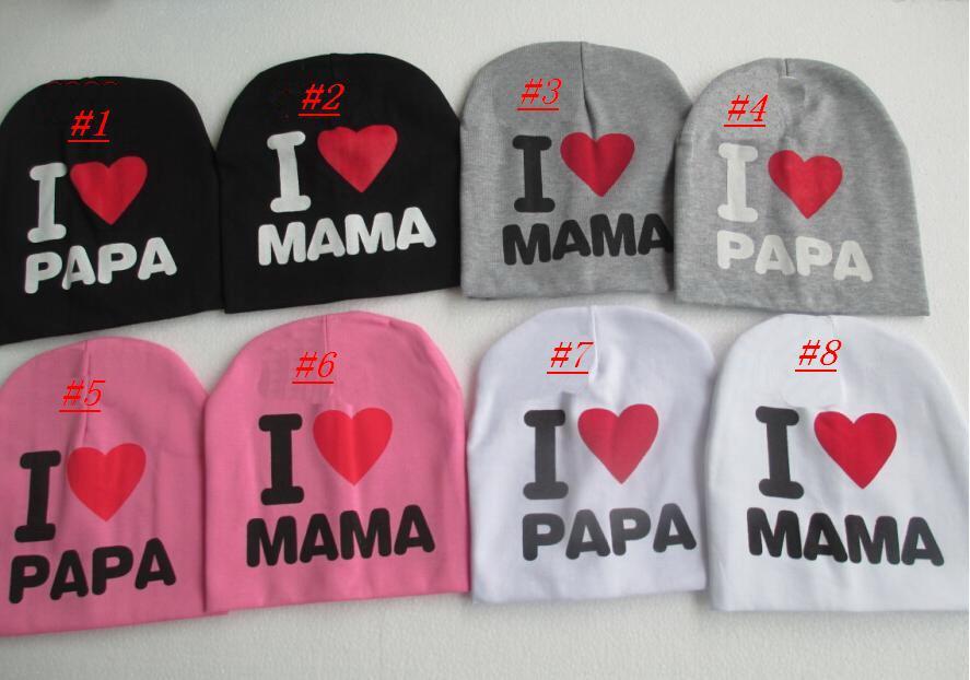 Новые прибытия Я люблю папу, я люблю маму, ребенка шляпу младенческой крышки Хлопка Шапо ...