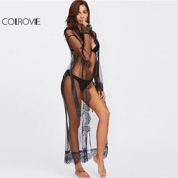 COLROVIE Eyelash Lace Trim Plus Size Mesh Robe With Belt Black Long Sleeve Ankle-length Kimono Blouse Women Sexy Sleepwear 4