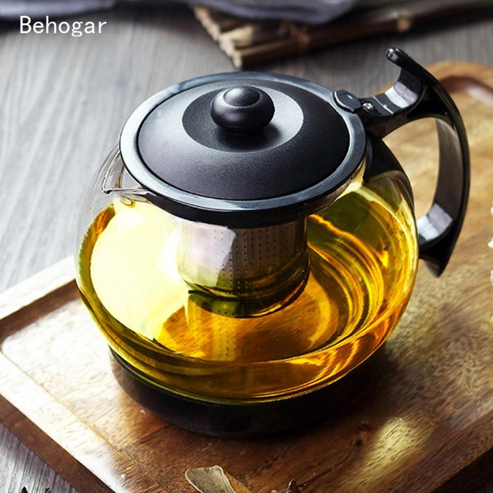 Behogar 1100ML 37oz Clear Glass Teapot High Temperature Resistant Loose Leaf Flower Tea Pot Coffee Maker Brewer W/ Strainer Lid|Teapots| |  - title=