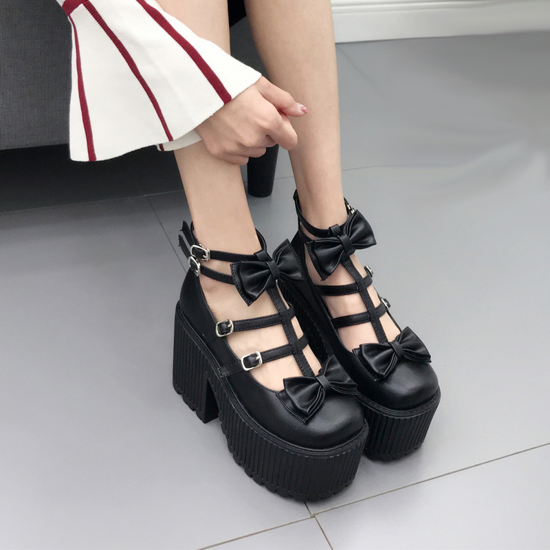 Women Ankle Boots Spring Bowknot Punk Style Martin Boots Buckle Black Shoes Women Party Pumps Chunky Heels Motorcycle Boots