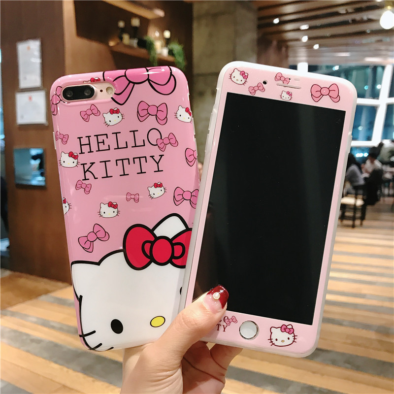 Cute KT cover For iPhone 8 8Plus Case + Tempered Glass