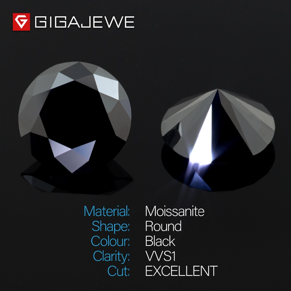 GIGAJEWE Moissanite noir 6.5mm rond coupe lâche pierre laboratoire diamant bricolage bijou bijoux faisant des charmes de mode femme petite amie cadeau-in Perles from Bijoux et Accessoires    2