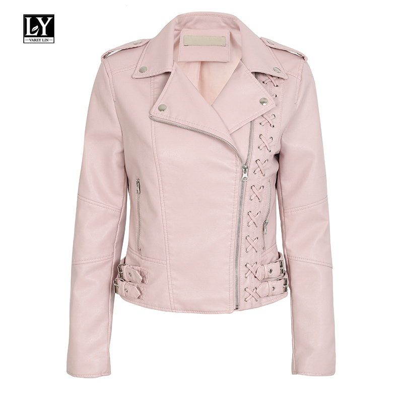 Ly Varey Lin Pu   Leather   Jacket Women Punk Lace Up Pu Motorcycle Faux   Leather   Coat 2019 New Biker Jacket Black Pink Outerwear