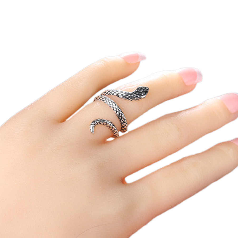2019 nowych moda hurtownie moda wąż pierścienie dla kobiet srebrny kolor metali ciężkich pierścień punk rock w stylu Vintage biżuteria dla zwierząt