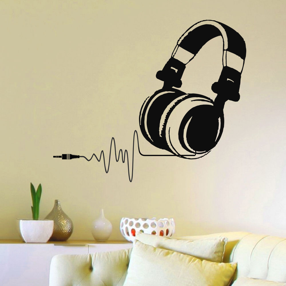 Gratis Verzending Hot Vinyl Muurstickers DJ Hoofdtelefoon Audio Muziek Puls Decal Art Muurschildering Woondecoratie Verwijderbare Muursticker Y-134