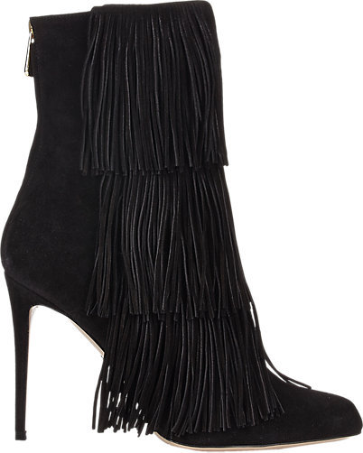 Women's Suede Pointy Toe High Heel Stiletto Tassels Ankle High Boots