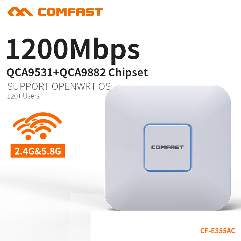 COMFAST Ceiling ap router 1200Mbps Wireless Access Point Dual Band 2.4G&5G AP network Wifi Router 802.11AC support openWRT ddWRT 2pcs 1750m gigabit ac wifi router 2 4ghz 5g dual band wifi repeater access point ap router cf e380ac wireless ceiling ap openwrt