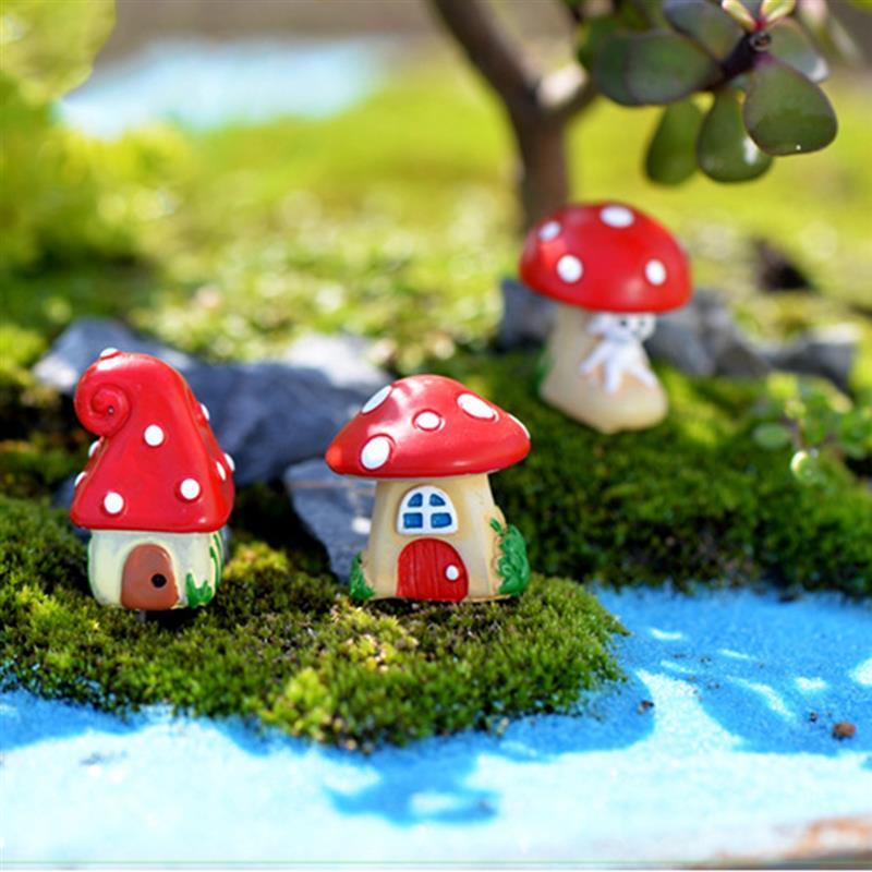 3Pcs/Set Cute Cartoon Red Mushroom House 3 Types DIY Resin Fairy Garden Craft Decoration Miniature Micro Gnome Terrarium Gif