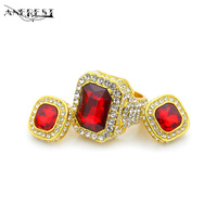 Fashion Indian African Beads Jewelry Set Crystal Dubai Gold Jewellery Hip Hop Punk Earrings Finger Knuckle