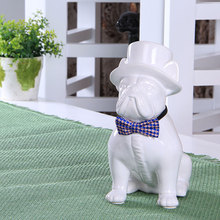 Creative ceramic gentleman French Bulldog dog statue home decor crafts room decoration dog ornament porcelain animal figurines nordic macaron color french bulldog ceramic figurines collectibles for home decor weddings centerpieces porcelain animal statues