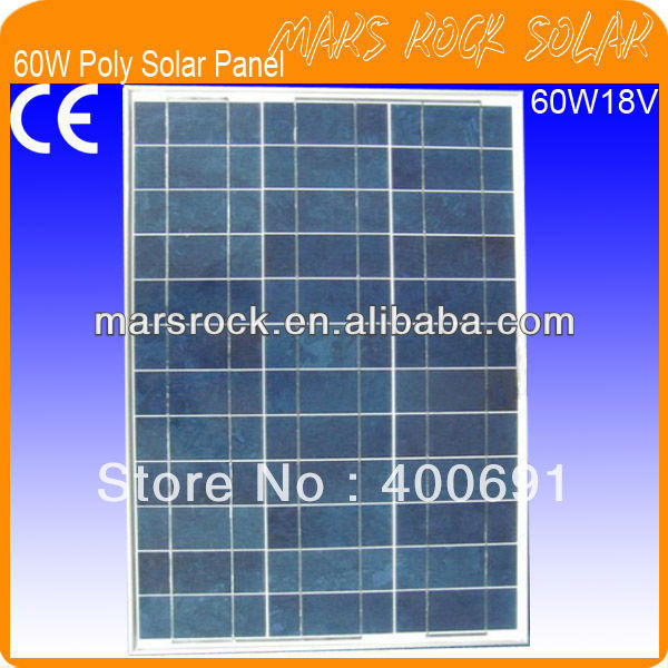 60W 18V Polycrystalline Silicon Solar Panel Module with Special Technology, Nice Appearance, Fend Against Snowstorm, Waterproof 35w 18v polycrystalline solar panel module with special technology high efficiency long lifecycle fend against snowstorm
