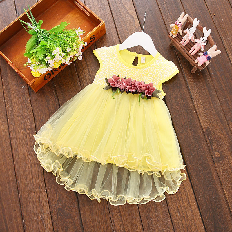 Fashion Infant Baby Flower Dress Clothes Summer Floral Solid Round Neck Sleeveless Mesh Princess Party Dresses Newborn 1 Years