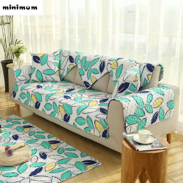 American Style Combination Leather Sofa Cover Cotton Cloth Fabrics Four  Seasons Universal Sofa Mat Non