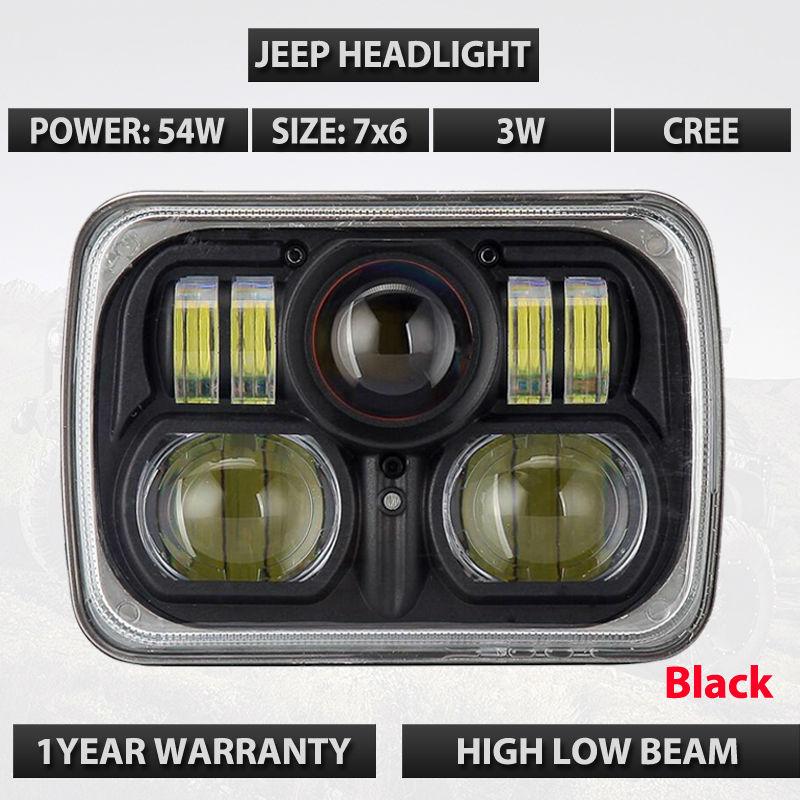 Квадрат 2шт 7-дюймовый 54 Вт / 42 Вт из светодиодов фар 10-30 в IP67 для Jeep Вранглер JK, как ЖЖ ТДЖ Чероки XJ в offroad грузовик