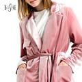 Autumn spring New Fashion Solid blazer plus size short suit jackets in women Sashes Velvet blazer feminino casual outwear