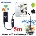 Wi-fi endoscópio 8mm câmera 5 m endoscópio inspeção camera serpente ios iphone e celulares com android à prova d' água endoskop mac do windows