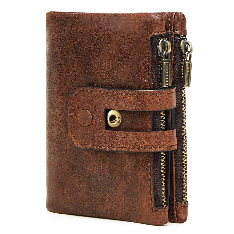 Mens Wallet Crazy-Horse Small Coin-Purse Cowhide-Cover Multifunctional Male Genuine Brand