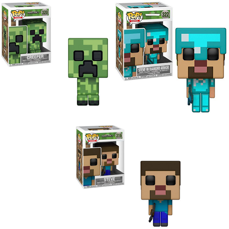 Funko Pop Minecraft Creeper Steve Steve Di Diamond Armor Action Figure Anime Model Pvc Mainan Koleksi Untuk Anak Anak Hadiah Aksi Toy Angka Aliexpress