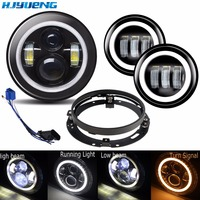 DOT 7 Inch 45W Harley LED Headlight+ 2 x 4 1/2 Fog Light Passing Lamps With Adapter Ring for Harley Motorcycle