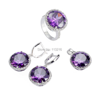 Trendy Amethyst Cubic Zirconia Jewelry Wholesale 925 Silver Plated Sporty Heart Set Ring Earring Pendant 485set