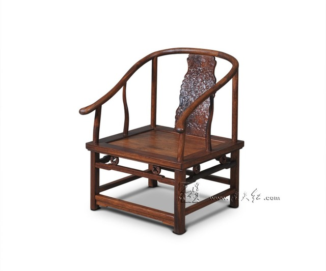 Living Room Rosewood Furniture Chinese Royal Solid Wood Armchair Red  Sandalwood Dining Chair Backed Antique Carving