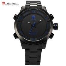 Hommes de gulper shark sport montre japon mouvement acier bande bleu led light date alarme numérique étanche quartz montres cadeau/sh362