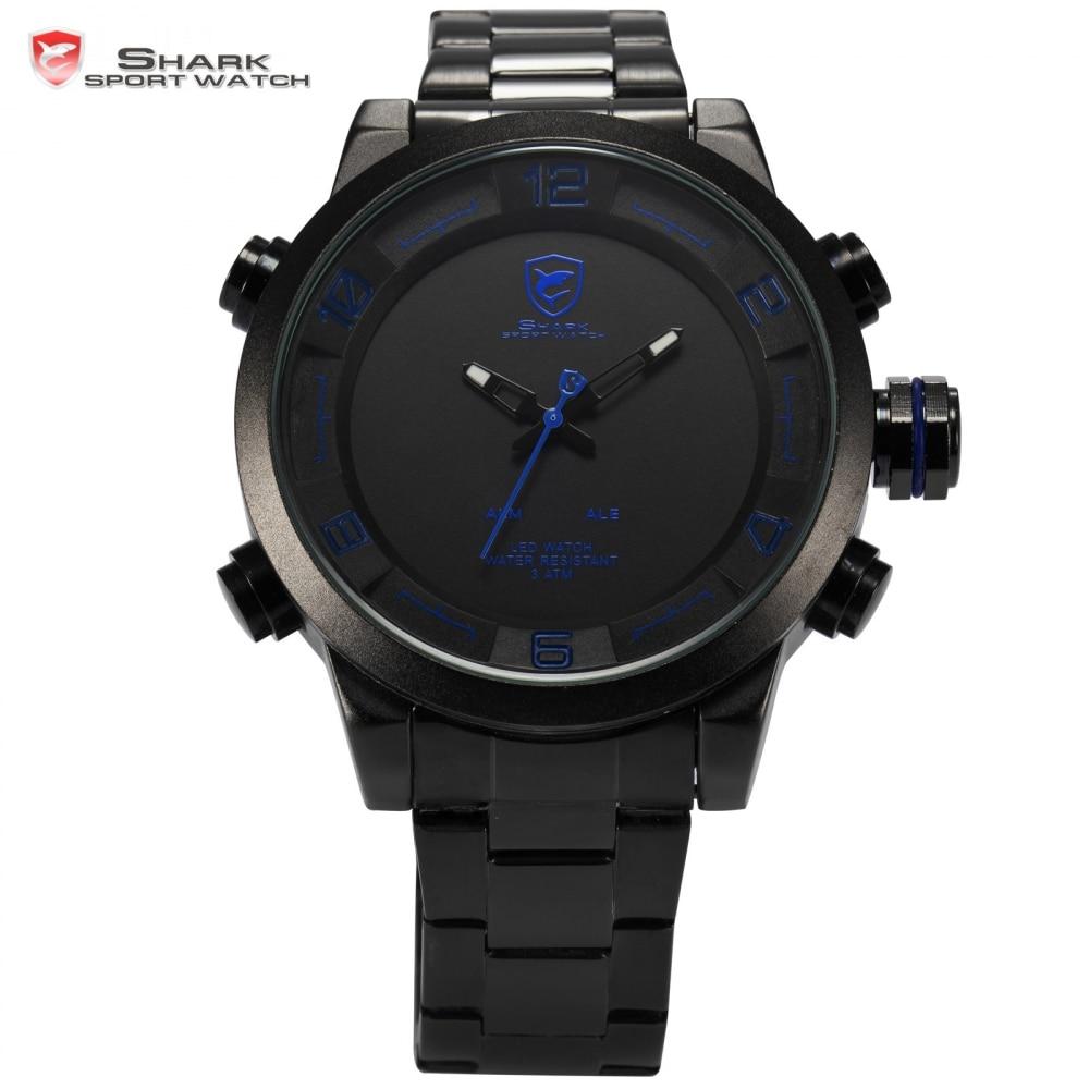 Gulper SHARK reloj deportivo digital azul negro banda de acero de doble movimiento de Cuarzo Fecha Alarma LED Reloj De Pulsera de Los Hombres / SH362