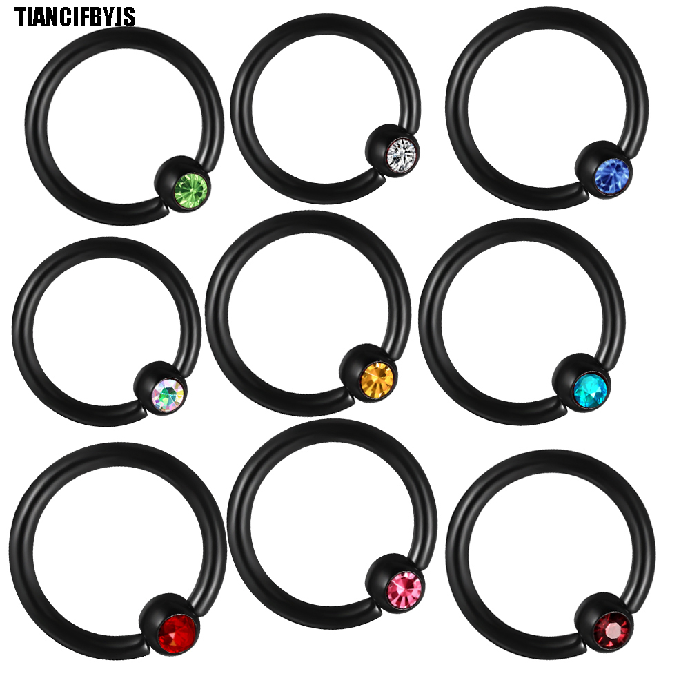 Jewelry & Accessories Jewelry Sets & More New Fashion Tiancifbyjs Black Ball Closure Ring Captive Bead Bcr 16g 1.2mm Nose Ear Helix Tragus Lip 10 Colours Piercing Body Jewelry 50pcs Clearance Price